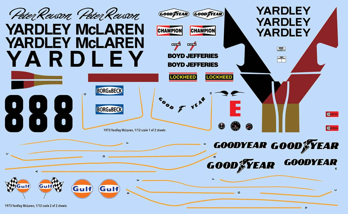 1973 Yardley McLaren Decals, Peter Revson
